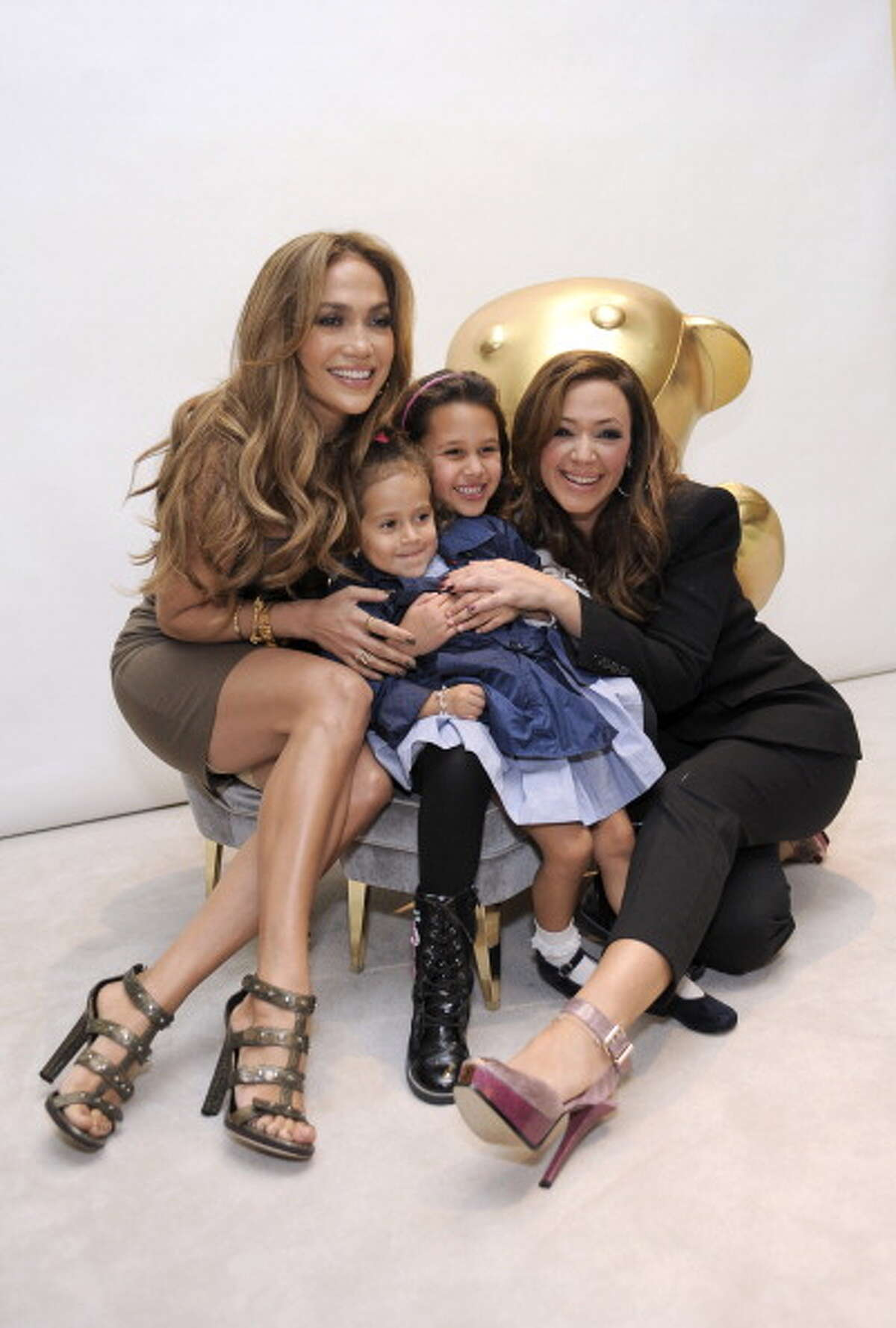 2010: (L-R) Jennifer Lopez, Emme Anthony, Sofia Bella Pagan and Leah Remini attend the Gucci Children's Collection event on November 20, 2010 in Beverly Hills, California.