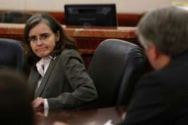 Ana Maria Gonzalez-Angulo appears in court during the sentencing portion of her trial on Monday, Sept. 29, 2014. She was convicted of poisoning her lover, fellow MD Anderson doctor George Blumenschein.