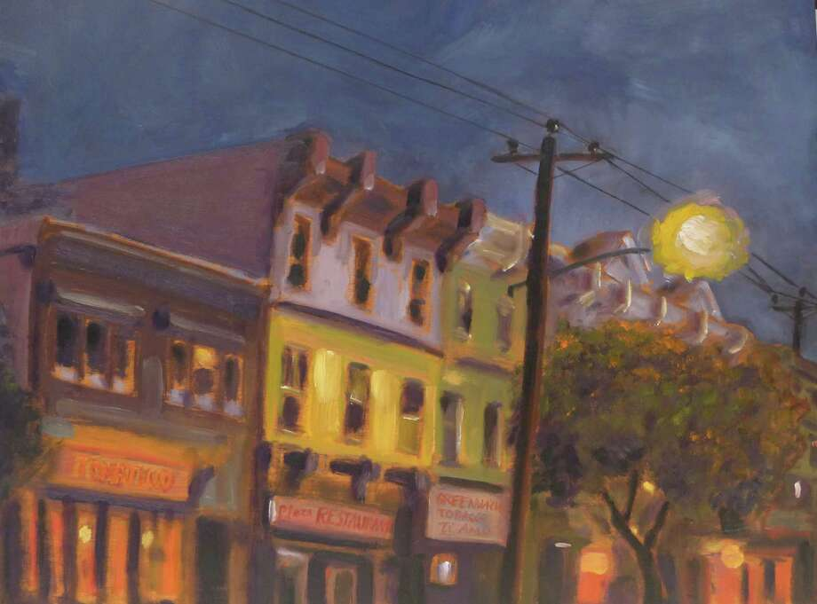 """Greenwich Avenue,"" as seen through the eyes of Greenwich, Conn, painter Jean-Pierre Jacquet, is one of many paintings on display at Les Beaux Arts Gallery in Greenwich. Conn. The show lasts until Oct. 16, 2014. Photo: Contributed Photo / Stamford Advocate Contributed photo"