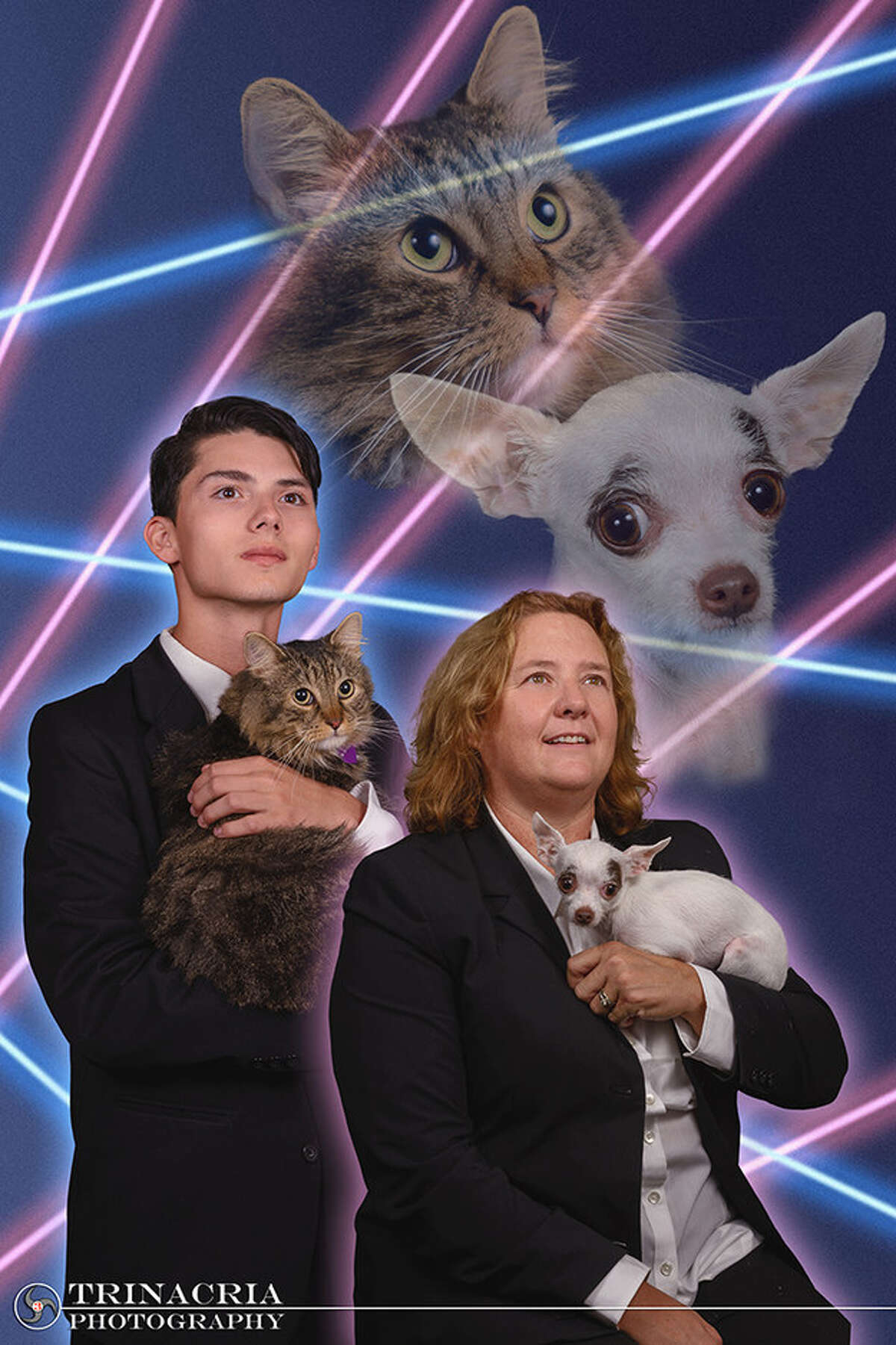 Draven Rodriguez and Mr. Bigglesworth were later joined by Schenectady High School Principal Diane Wilkinson and her dog, Vivienne. The photo was taken by Vincent Giordano. (Provided)
