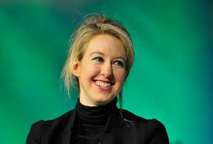 SAN FRANCISCO, CA - SEPTEMBER 08: Theranos Chairman, CEO and Founder Elizabeth Holmes speaks onstage at TechCrunch Disrupt at Pier 48 on September 8, 2014 in San Francisco, California.  (Photo by Steve Jennings/Getty Images for TechCrunch)