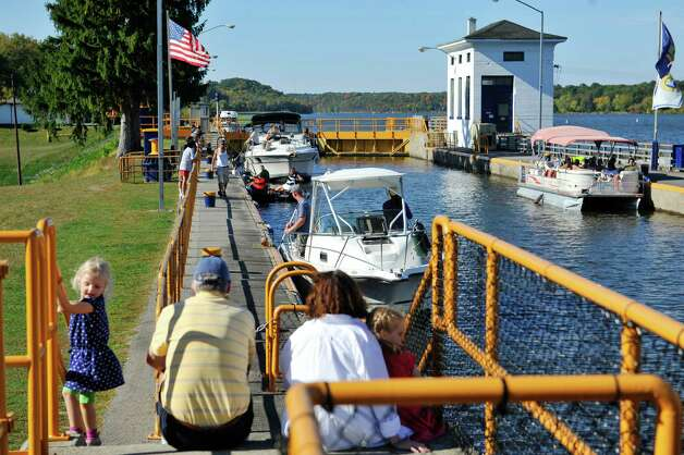 Boats being piloted east on the Mohawk River are seen inside lock 7 on Sunday, Sept. 28, 2014, in Niskayuna, N.Y.     (Paul Buckowski / Times Union) Photo: Paul Buckowski
