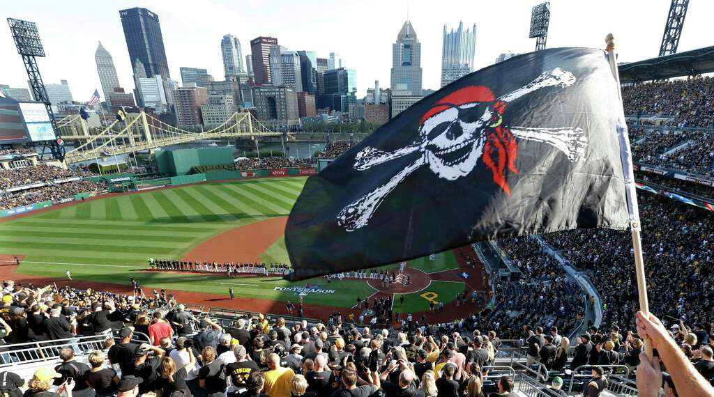 The City Skyline Is Seen Beyohnd Outfield Walls Of PNC Park As A Pittsburgh Pirates