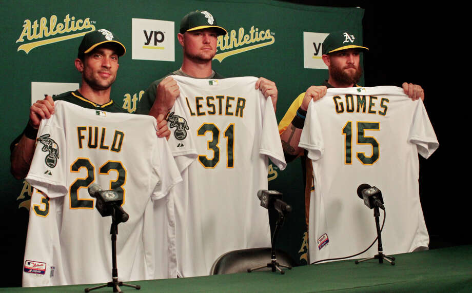 Sam Fuld, Jon Lester and Jonny Gomes came to Oakland two months ago in one of general manager Billy Beane's biggest trades. Can they get the A's over the postseason hump? Photo: James Tensuan / The Chronicle / ONLINE_YES