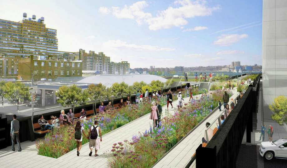 "In this undated artist rendering provided by the ""Friends of the High Line,"" the High Line's 11th Avenue Bridge looking west toward the Hudson River in New York is shown. Thirty feet above New York City streets, the final section of the flower-strewn walkway that once a right of way for freight train traffic opened to the public on Sunday, Sept. 21, 2014. (AP Photo/James Corner Field Operations, Diller Scofidio + Renfro.) NO SALES ORG XMIT: NYR402 Photo: James Corner Field Operations, AP / Friends of the High Line"