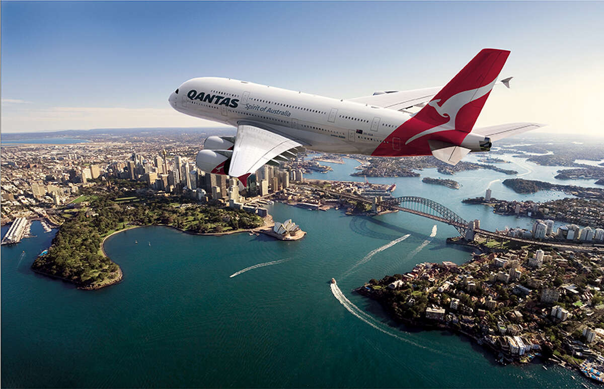 An international airline will ship hundreds of passengers between Sydney and Dallas - the world's longest airplane route - on the world's biggest passenger plane. Qantas landed its first Airbus A380 Monday afternoon at Dallas-Fort Worth International Airport, the Associated Press reported, and was greeted with a water cannon salute.