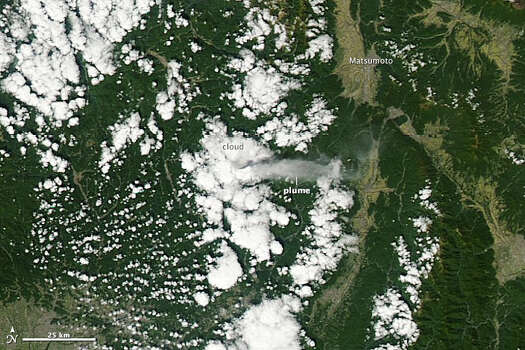 Mount Ontake, the second highest volcano in Japan, erupted on Sept. 27, 2014, blanketing the surrounding area in ash. In the above photo, taken by NASA satellites, you can see the plume of gas and steam released from the volcano on that very same day.See more photos: Mount Ontake erupts in Japan, killing dozens Photo: Jeff Schmaltz/NASA