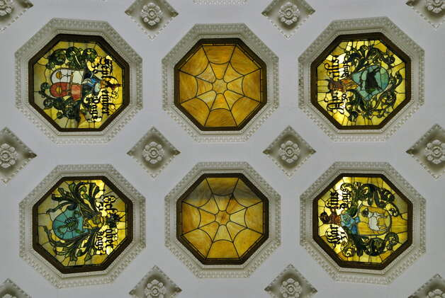 A 2006 archive photo shows detail of some of the restored stained glass ceiling panels in the ballroom of the Canfield Casino in Saratoga Springs. (John Carl D'Annibale/Times Union archive) Photo: John Carl D'Annibale / Albany Times Union