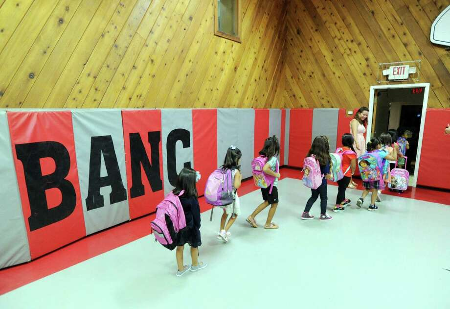 It's been just about a month since New Lebanon School kindergarten classes moved to the Byram Archibald Neighborhood Center in the downtown Byram section of Greenwich. Photo: Bob Luckey / Greenwich Time