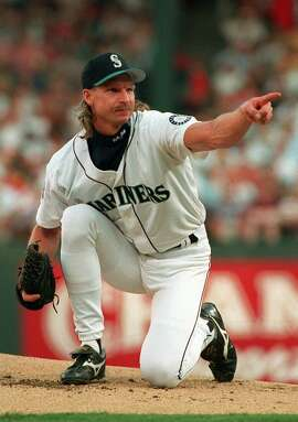 Left-hander Randy Johnson of the Seattle Mariners, seen at the 1995 All-Star Game in Arlington, Texas.