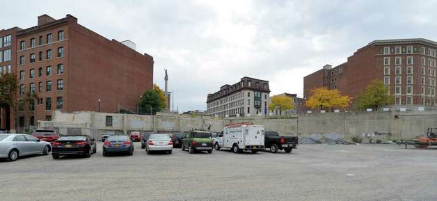 The site of the former Troy City Hall which was torn down is now a large parking area Monday morning Sept. 29, 2014 in Troy, N.Y.  (Skip Dickstein/Times Union) Photo: SKIP DICKSTEIN / 10028806A