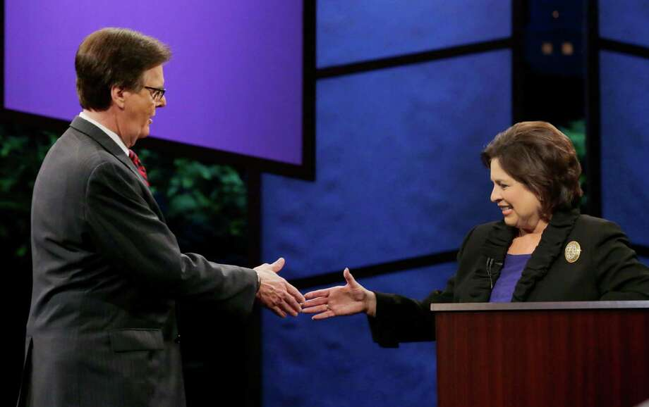 Texas Lieutenant Governor hopefuls state Sen. Dan Patrick, R-Houston, left, and state Sen. Leticia Van de Putte, D-San Antonio,  Photo: Eric Gay, Associated Press / AP
