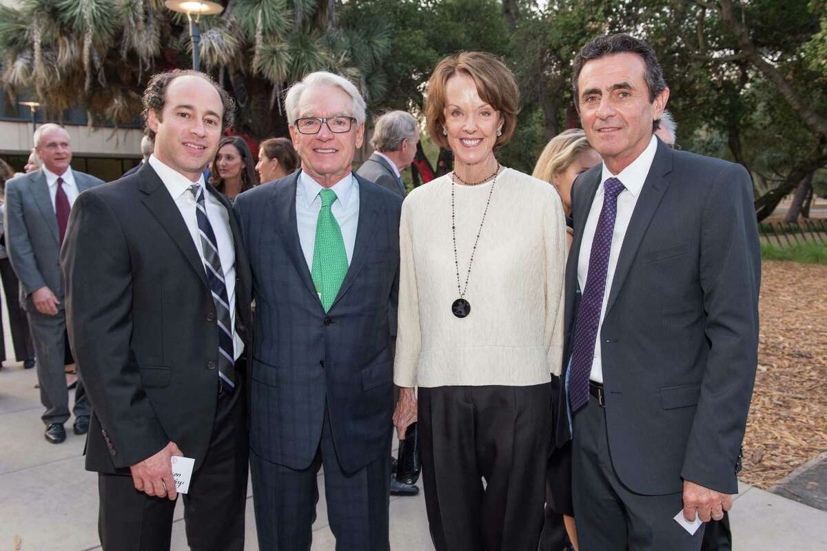 Anderson Collection Director Jason Linetzky (left), stock investment company founder Charles Schwab, his wife, Helen Schwab, and San Francisco Museum of Modern Art Director Neal Benezra on opening night of the Anderson Collection at Stanford University.