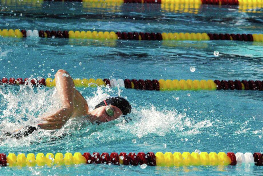 Darien junior Lauren Rutledge swims during an away meet at Wilton on Wednesday, Sept. 17. Photo: Contributed / Darien News Contributed
