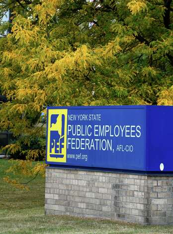 The sign outside the headquarters of the Public Employees Federation(PEF) at 1170 Troy-Schenectady Road Monday morning Sept. 29, 2014 in Latham, N.Y.     (Skip Dickstein/Times Union) Photo: SKIP DICKSTEIN / 10028807A