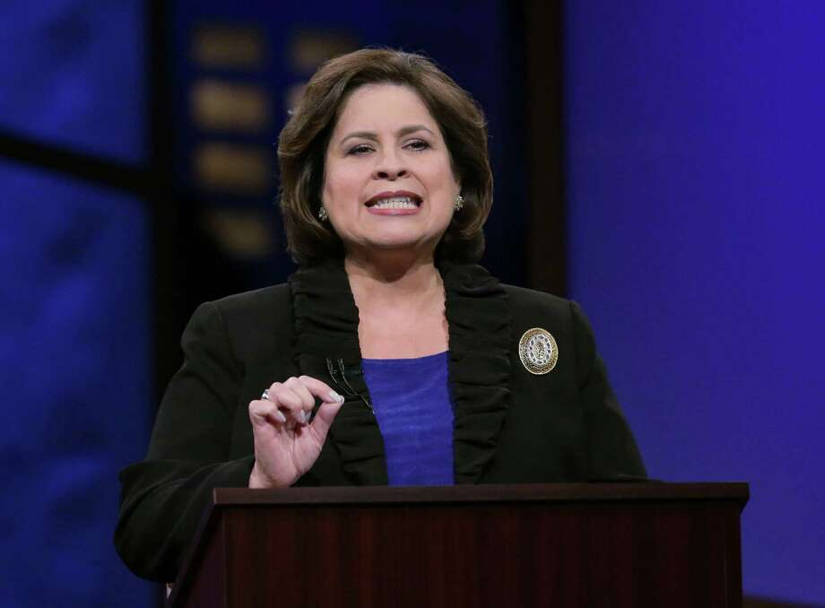 State Sen. Leticia Van de Putte, D-San Antonio, criticized rival Dan Patrick for supporting cuts to education spending and for opposing abortion even in cases of rape and incest, among other items, during the debate. Photo: Eric Gay, Associated Press / AP