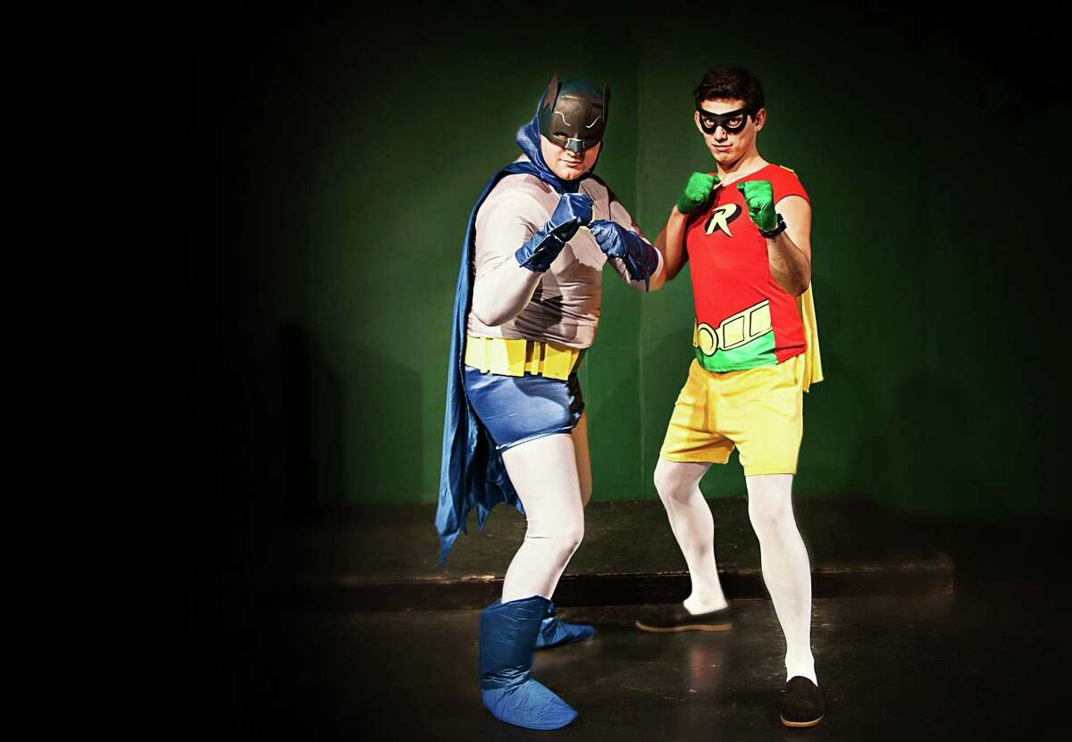 Jon Smith (from left) and Rocky Bronco play the Dynamic Duo in the Rose Theatre Company's