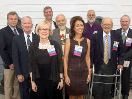 Bay Area Radio Hall of Fame inductees (left to right) Sam Van Zandt, Steve Bitker, Jo Anne Wallace, Peter Finch, Norman Davis, Celeste Perry, Bill Ruck, Bob Lazich and Ed Cavagnaro.