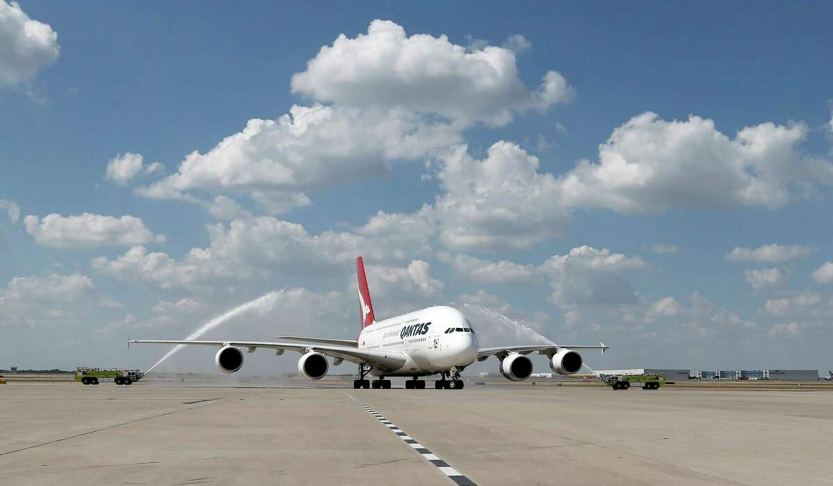 The Airbus A380-800 had 695 flights at Bush Intercontinental in 2015.In this Sept. 29, 2014 photo released by Qantas, an Airbus A380 taxis to its gate during its inaugural landing at Dallas-Fort Worth International Airport in Texas. (AP Photo/Qantas, Brandon Wade)