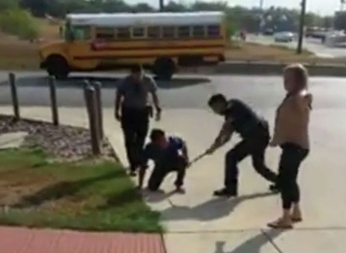 A police chase captured on video on Sept. 25 shows a man continually evading San Antonio police despite being tazed and beaten with a baton.