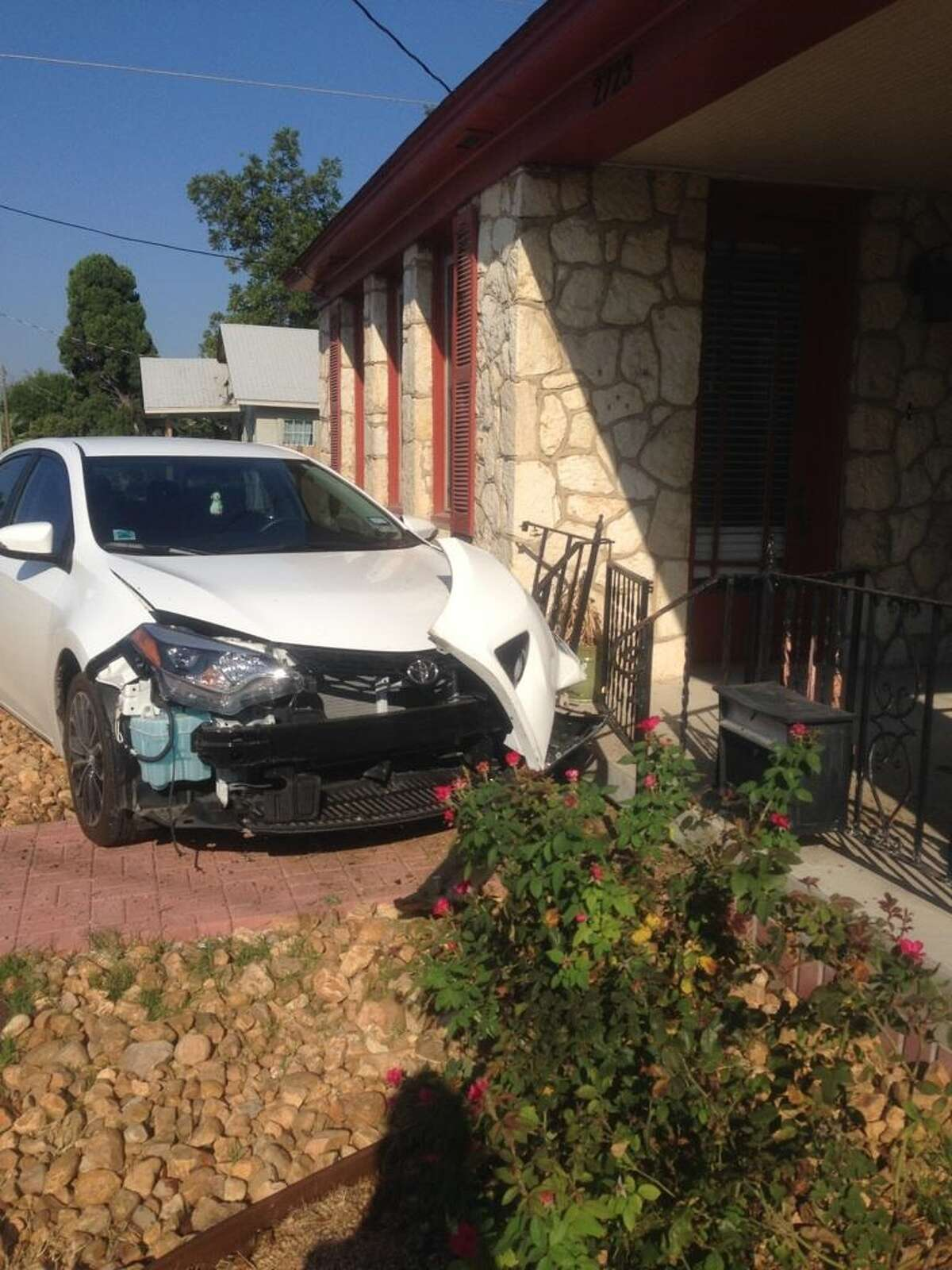 A car crashed into the front of San Antonio City Councilwoman Shirley Gonzales' home on Sept. 30, 2014.