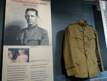 A photo of Colonel Raynal Cawthorne Bolling (1877-1918) of Greenwich and his U.S. Army World War I uniform are part of the Greenwich Faces the Great War exhibition, commemorating the centennial of the war at the Greenwich Historical Society in Cos Cob, Conn., Tuesday, Sept. 30, 2014. Bolling is considered the first high-ranking American officer killed in combat in the war. The exhibition illustrates the Great War experience from a Greenwich perspective and runs from October 1, 2014 to March 22, 2015, Wednesday through Sunday from noon to 4 p.m., in the storehouse gallery at the society.