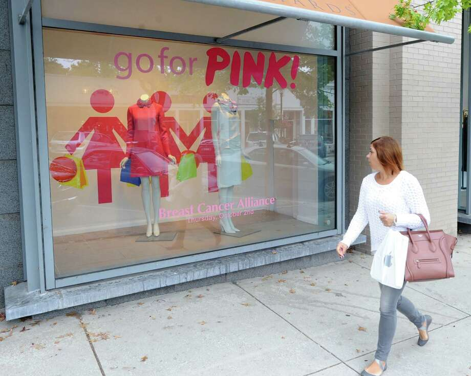 """The """"Go for Pink"""" window display to advertise the upcoming Breast Cancer Alliance fundraiser at Richards of Greenwich at 359 Greenwich Ave., Greenwich, Conn., Tuesday, Sept. 30, 2014. On Thursday, more than 40 Greenwich stores, including Richards, will donate a percentage of their sales to The Breast Cancer Alliance. Photo: Bob Luckey / Greenwich Time"""