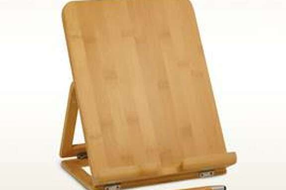 Bamboo Tablet Holder from Tastefully Simple holds your tablet, cookbooks and more. $39.95 at TastefullySimple.com
