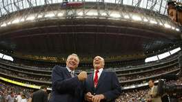 Cowboys owner Jerry Jones, left, and Texans owner Robert McNair joke before an NFL football game between the Houston Texans and the Dallas Cowboys on Sunday, September 8, 2002. (FT) NC KD 2002 (Horiz) (lde)