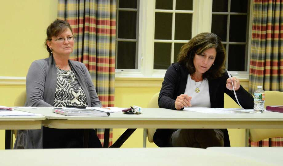 Park and Recreation Commissioners Francesca Segalas, left, and Laura Costigan at a meeting Monday, Sept. 29, 2014, at Lapham Community Center, New Canaan, Conn. The commission is looking into setting rules for its members to join meetings via telephone. Photo: Nelson Oliveira / New Canaan News
