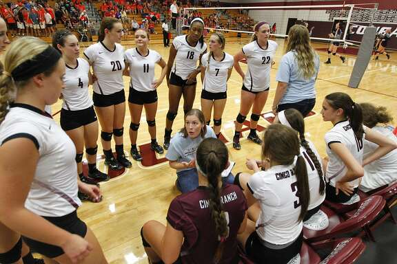 Cinco Ranch head volleyball coach Danielle Wells gave the team some instructions during a time out in a match against Seven Lakes last week.