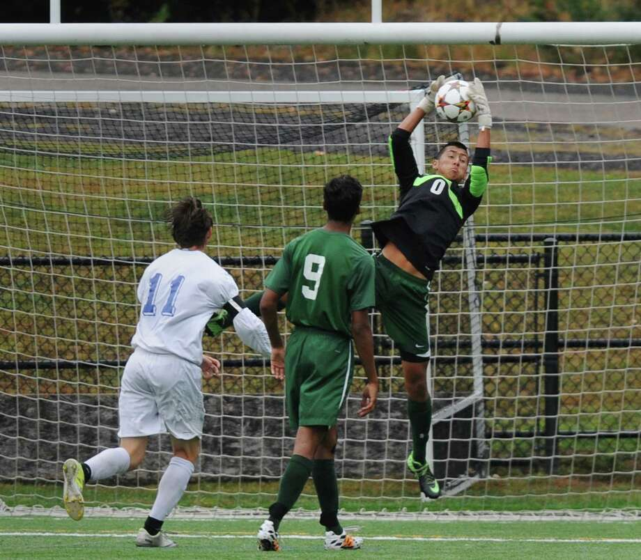 New Milford goalie Adam Llerena (0) jumps to make a save in New Milford's 4-0 win over Newtown in the high school soccer game at Treadwell Town Park in Sandy Hook, Conn. Tuesday, Sept. 30, 2014. Photo: Tyler Sizemore / The News-Times