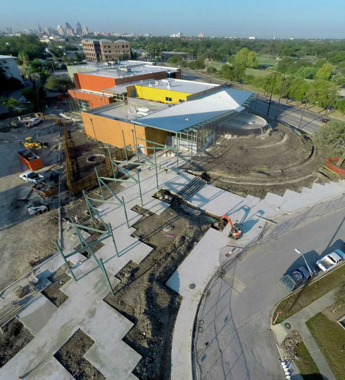 The Do Seum, the new name for the San Antonio Children's Museum is seen under construction at its new Broadway location Sept. 30, 2014 in an aerial picture taken with a quadcopter.