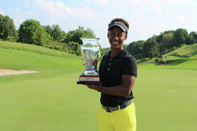 Sadena Parks holds the trophy after winning the Symetra Tour's SEFCU Championship at Capital Hills Golf Course on Sunday, July 27, 2014. (Courtesty of Symetra Tour)