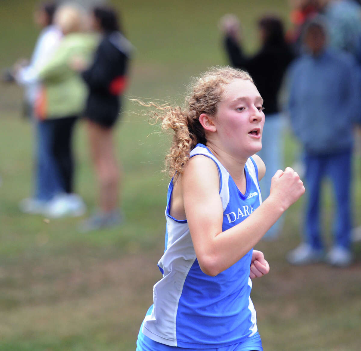 Second place finisher Kate Halabi of Darien High School during the girls high school cross country meet at Greenwich Point, Conn., Tuesday, Sept. 30, 2014.