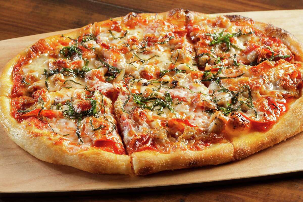 Pizza at Plank, a restaurant and bowling venue opening in Oakland.