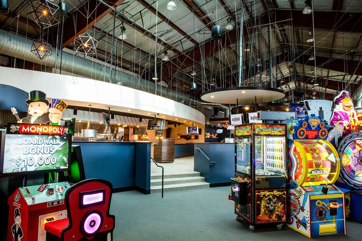 Games inside Plank, a restaurant and bowling venue opening in Oakland.
