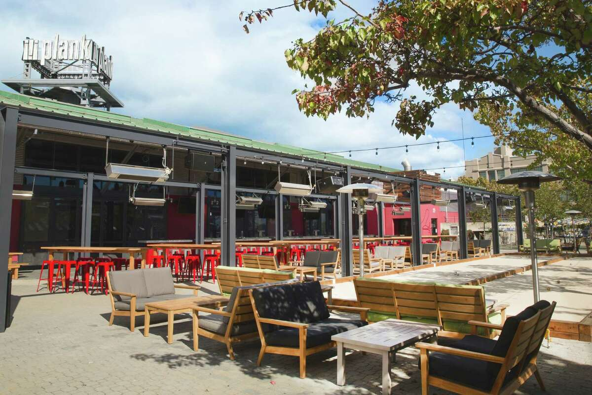 The outdoor area at Plank, a restaurant and bowling venue opening in Oakland.