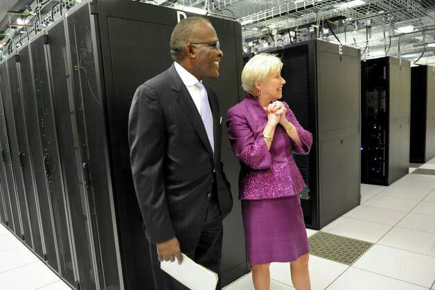 President Robert J. Jones, left, and SUNY Chancellor Nancy L. Zimpher tour the new $26M data center in the Information Technology building on Tuesday, Sept. 30, 2014, at University at Albany in Albany, N.Y. (Cindy Schultz / Times Union) Photo: Cindy Schultz / 10028813A