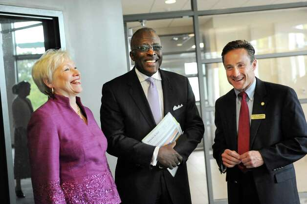 SUNY Chancellor Nancy L. Zimpher, left, President Robert J. Jones, center, and Assemblyman Peter Lopez at the new Information Technology building on Tuesday, Sept. 30, 2014, at University at Albany in Albany, N.Y. (Cindy Schultz / Times Union) Photo: Cindy Schultz / 10028813A