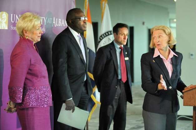 CIO Christine E. Haile, right, addresses SUNY Chancellor Nancy L. Zimpher, left, President Robert J. Jones, center, and Assemblyman Peter Lopez during a ceremony at the new Information Technology building on Tuesday, Sept. 30, 2014, at University at Albany in Albany, N.Y. (Cindy Schultz / Times Union) Photo: Cindy Schultz / 10028813A