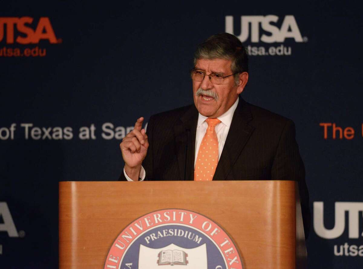 UTSA President Dr. Ricardo Romo speaks during his State of the University address on Tuesday, Sept. 30, 2014.