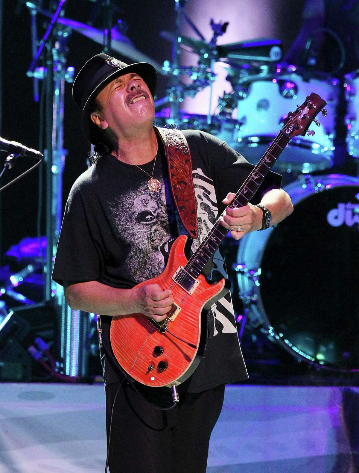 Legendary performer and guitarist Carlos Santana performs at the Tobin Center on Tuesday, Sept. 30, 2014.
