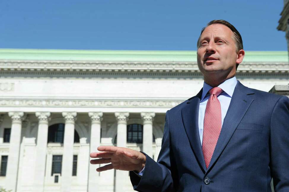 GOP candidate for New York Governor Rob Astorino holds a press conference at the Capitol on Friday, Sept. 19, 2014, in Albany, N.Y. (Michael P. Farrell/Times Union)