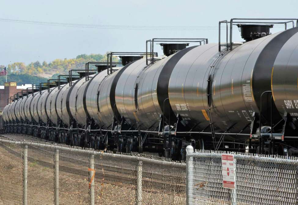 Railway oil cars parked along Rt. 32 north Tuesday Sept. 30, 2014, in Albany, NY. (John Carl D'Annibale / Times Union)