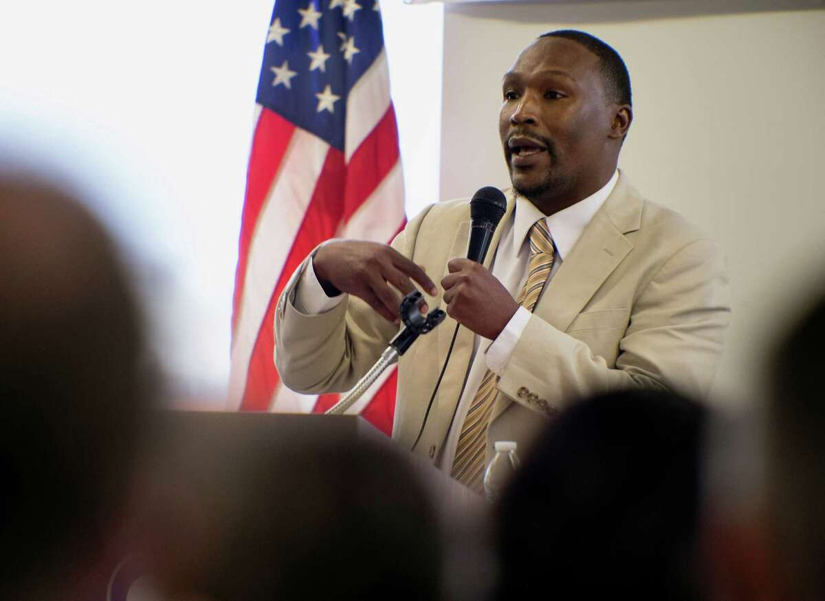 City Council District 2 candidate Norris Tyrone Darden speaks during a candidate forum, Saturday, Sept. 27, 2014, at Second Baptist Church in San Antonio. (Darren Abate/For the Express-News)