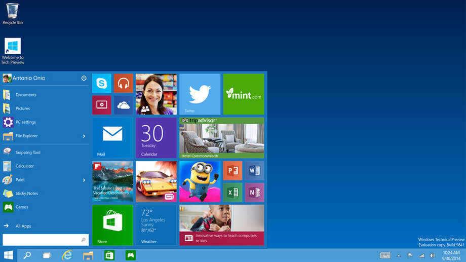 This image shows the start menu of Windows 10, the company's next version of its flagship operating system. The company is skipping version 9 to emphasize advances of the new system. Photo: Uncredited, HONS / Microsoft