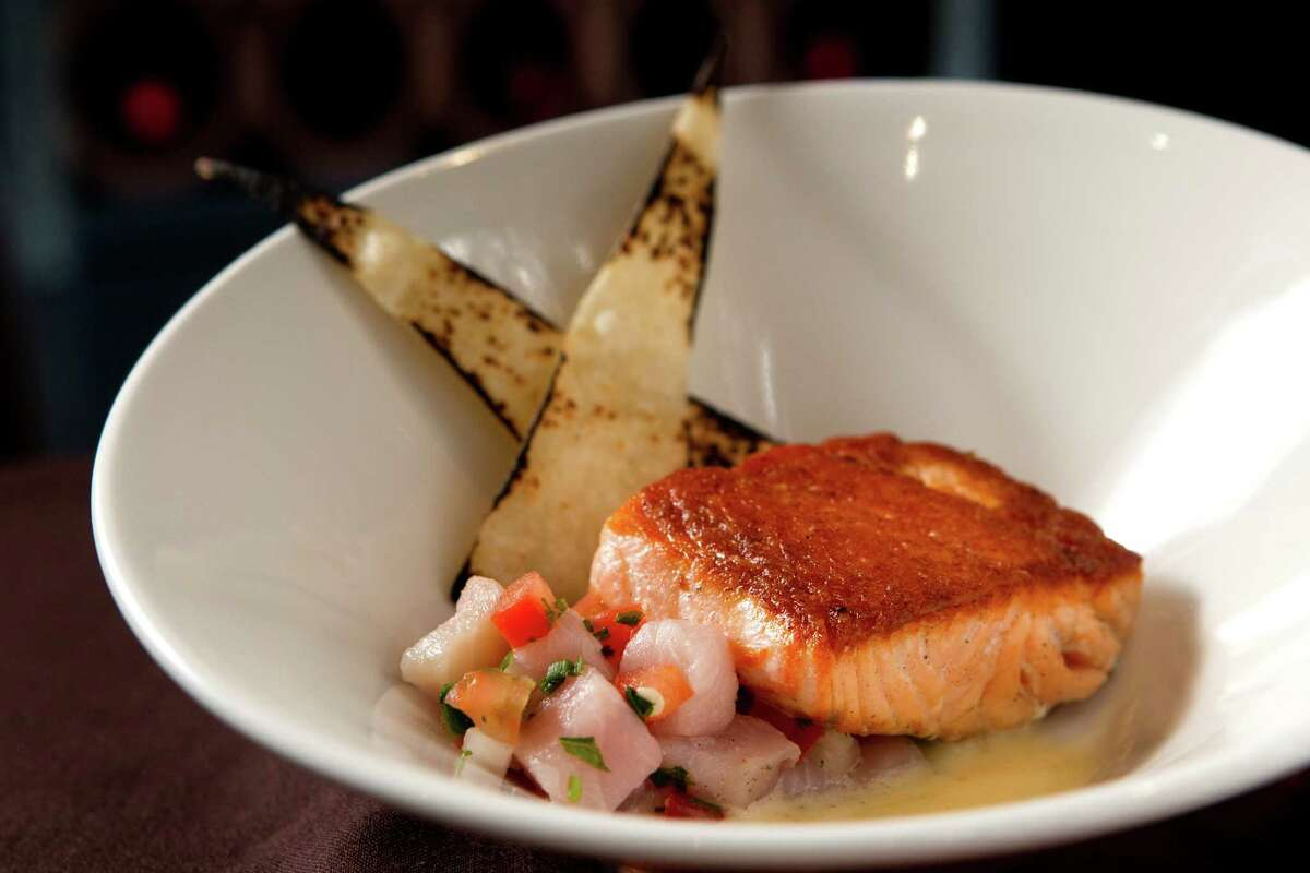 Churrasco's gets high makrs from a reader. A plate of Salmon Con Ceviche Caliente, pan-seared salmon and yellow tail ceviche, habanero beurre blanc, tomato, with fire roasted tortilla.