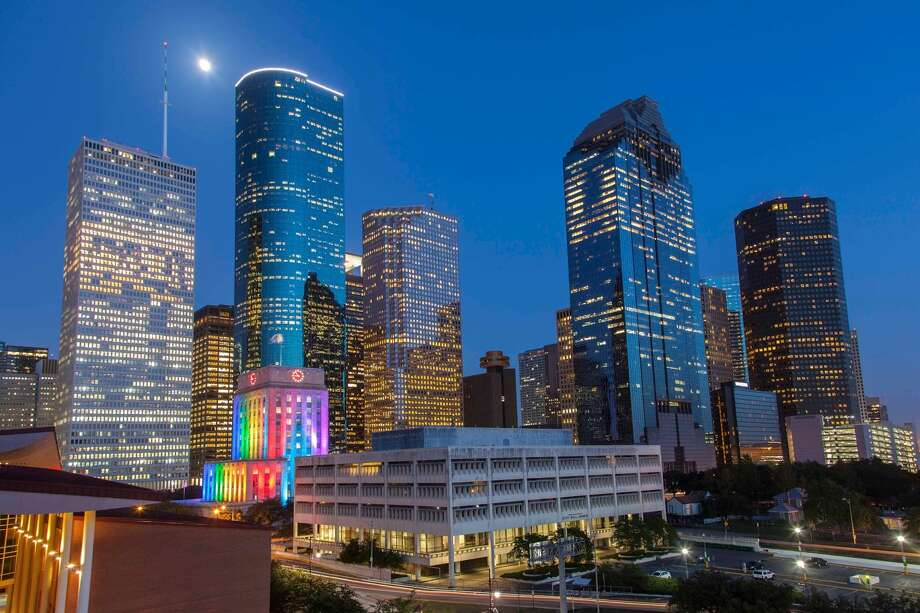 City Hall lights up yearly for the Pride Houston celebrations.>>Here are the downtown bars that are participating in the Downtown Houston Pub Crawl... Photo: Pride Houston Photo / Kathy Adams Clark/KAC Productions