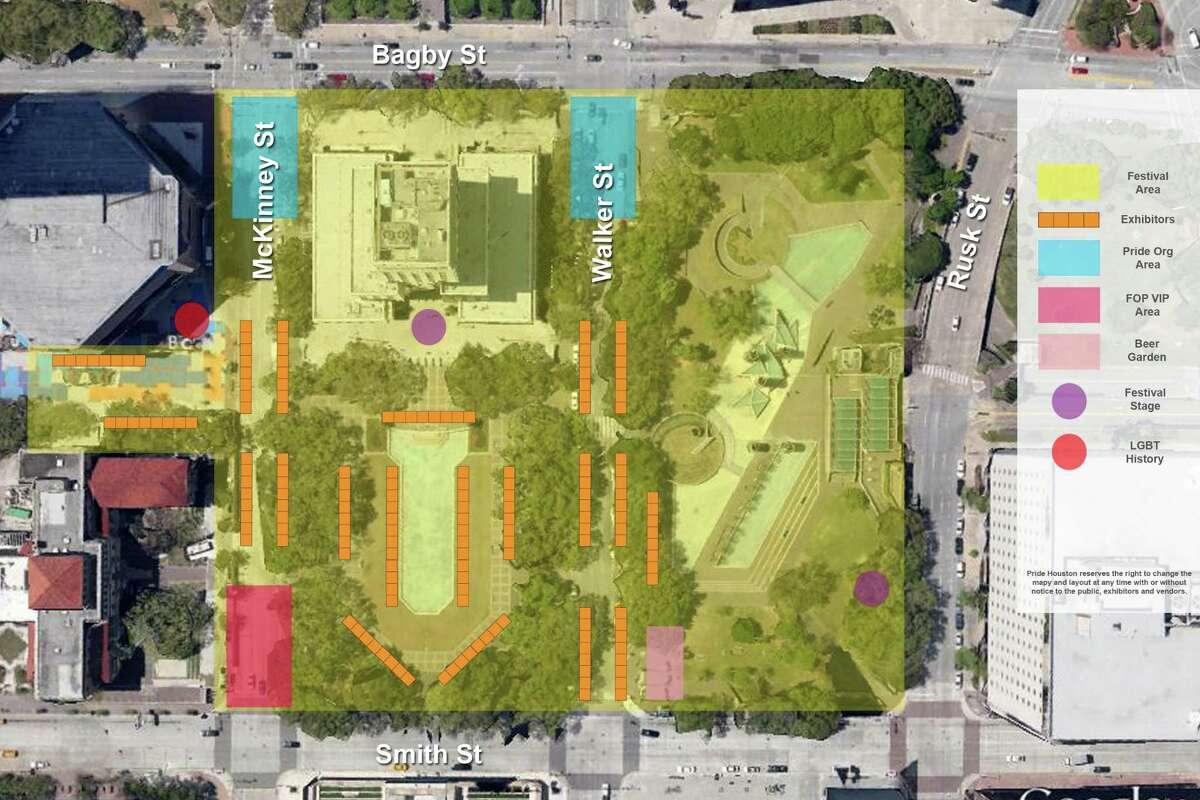 Pride Houston 2015 festival detail for downtown Houston.